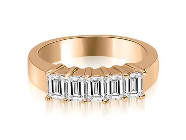 1.25 cttw. Emerald Diamond Classic 5-Stone Prong Wedding Band in 14K Rose Gold