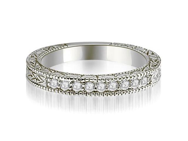 0.20 cttw. Round Diamond Antique Wedding Band in 18K White Gold