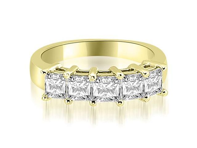 2.00 cttw. Princess Diamond 5-Stone Prong Wedding Band in 18K Yellow Gold