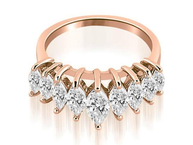 1.75 cttw. Marquise Diamond Prong Wedding Band in 18K Rose Gold