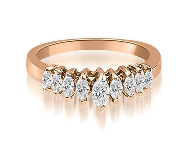 0.70 cttw. Marquise Diamond 9-Stone Wedding Band in 18K Rose Gold