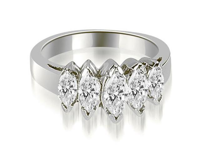 1.75 cttw. Marquise Diamond 5-Stone Wedding Band in 14K White Gold