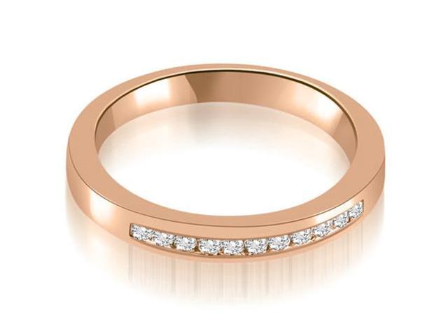 0.13 cttw. Classic Channel Round Cut Diamond Wedding Band in 18K Rose Gold