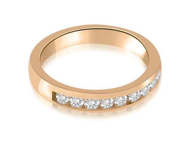 0.63 cttw. Classic Channel Round Cut Diamond Wedding Band in 14K Rose Gold