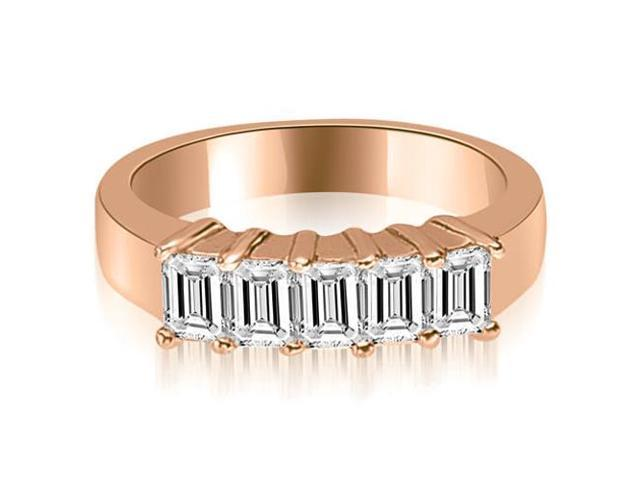 1.25 cttw. Emerald Diamond Classic 5-Stone Prong Wedding Band in 18K Rose Gold