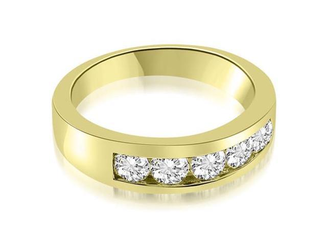 1.00 cttw. Classic Channel Round Cut Diamond Wedding Band in 14K Yellow Gold