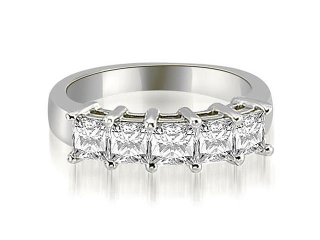 2.50 cttw. Princess Diamond 5-Stone Prong Wedding Band in 14K White Gold