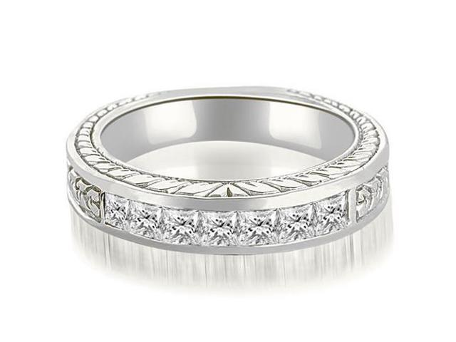 0.70 cttw. Princess Diamond Vintage Wedding Band in 14K White Gold
