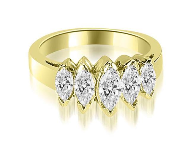 1.75 cttw. Marquise Diamond 5-Stone Wedding Band in 14K Yellow Gold