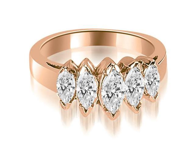 1.75 cttw. Marquise Diamond 5-Stone Wedding Band in 18K Rose Gold