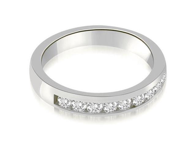 0.63 cttw. Classic Channel Round Cut Diamond Wedding Band in 18K White Gold