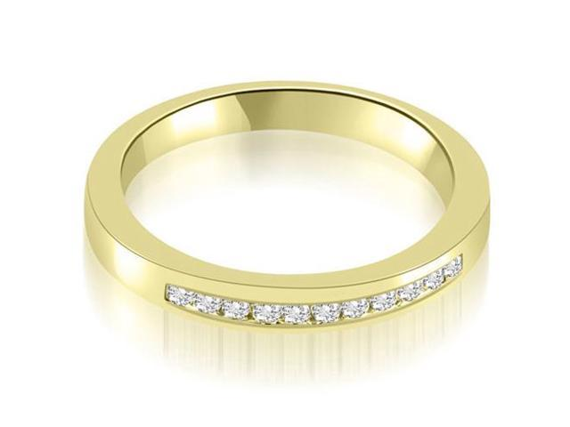 0.13 cttw. Classic Channel Round Cut Diamond Wedding Band in 18K Yellow Gold