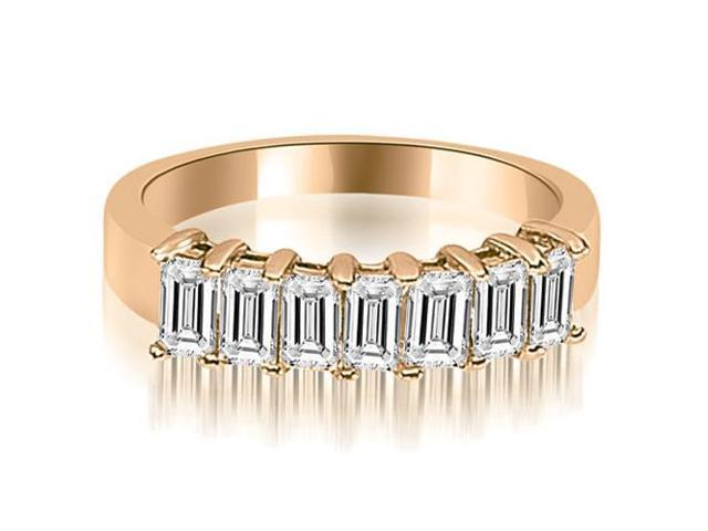 1.75 cttw. Emerald Diamond Classic 7-Stone Prong Wedding Band in 14K Rose Gold