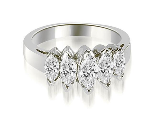 1.75 cttw. Marquise Diamond 5-Stone Wedding Band in 18K White Gold