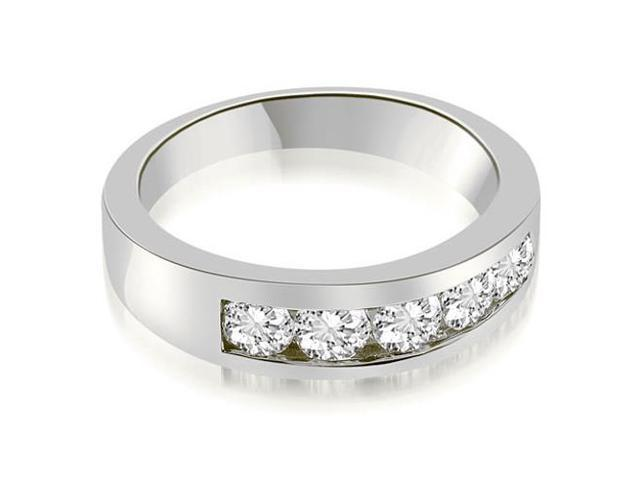 1.00 cttw. Classic Channel Round Cut Diamond Wedding Band in Platinum