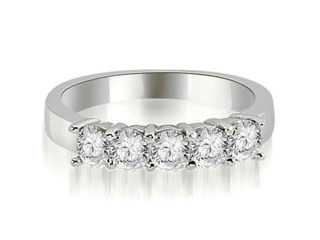 1.00 cttw. Round Diamond Classic 5-Stone Prong Wedding Band in 18K White Gold