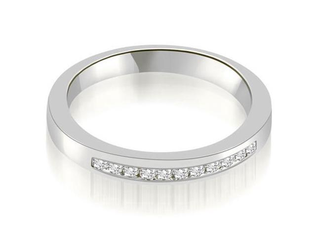 0.13 cttw. Classic Channel Round Cut Diamond Wedding Band in Platinum