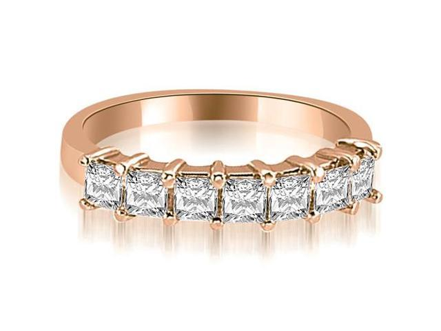 2.00 cttw. Princess Diamond 7-Stone Prong Wedding Band in 18K Rose Gold