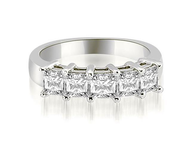 2.50 cttw. Princess Diamond 5-Stone Prong Wedding Band in Platinum