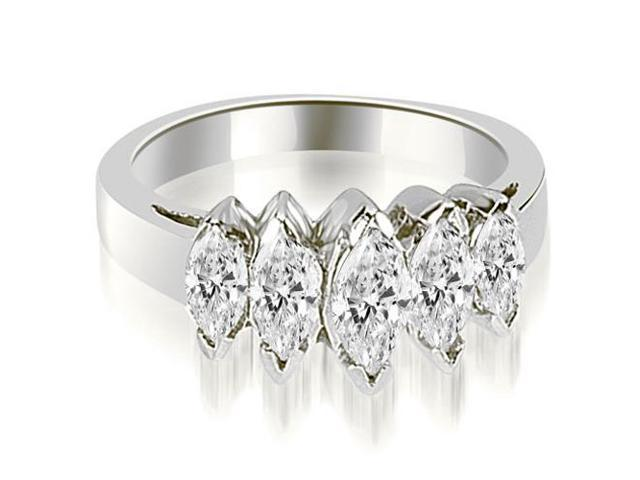 1.75 cttw. Marquise Diamond 5-Stone Wedding Band in Platinum
