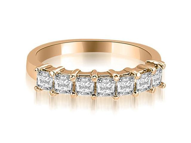 0.70 cttw. Princess Diamond 7-Stone Prong Wedding Band in 14K Rose Gold