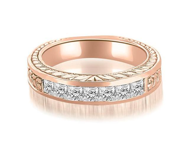0.70 cttw. Princess Diamond Vintage Wedding Band in 18K Rose Gold