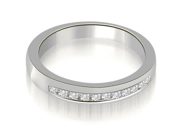0.25 cttw. Classic Channel Round Cut Diamond Wedding Band in 14K White Gold