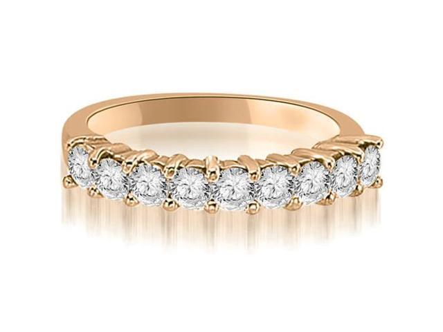 1.30 cttw. Round Diamond 9-Stone Prong Wedding Band in 14K Rose Gold