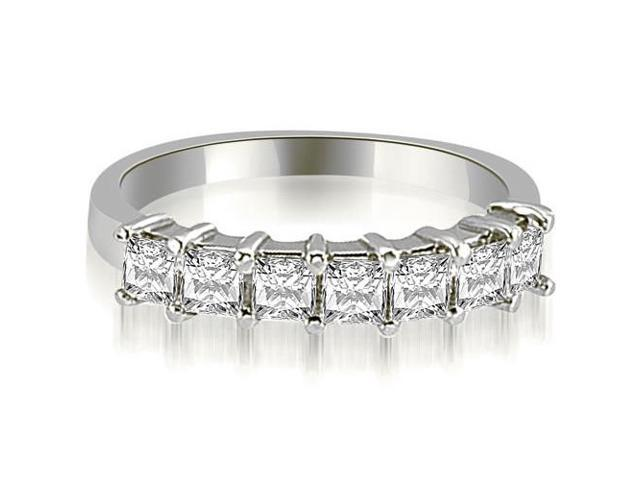 0.70 cttw. Princess Diamond 7-Stone Prong Wedding Band in 14K White Gold
