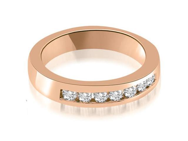 0.35 cttw. Classic Channel Round Cut Diamond Wedding Band in 18K Rose Gold