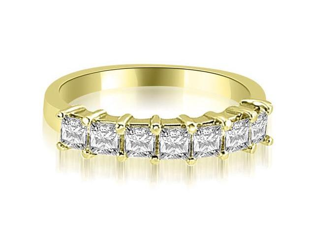 0.70 cttw. Princess Diamond 7-Stone Prong Wedding Band in 14K Yellow Gold