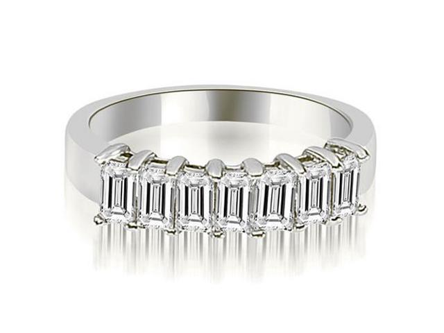 1.75 cttw. Emerald Diamond Classic 7-Stone Prong Wedding Band in 18K White Gold