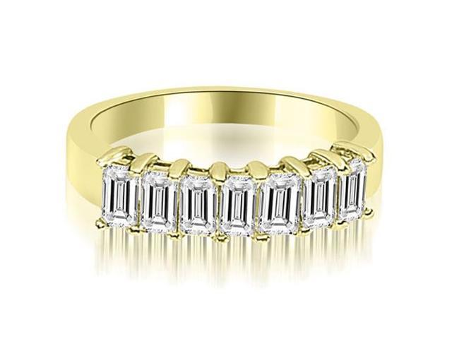 1.75 cttw. Emerald Diamond Classic 7-Stone Prong Wedding Band in 18K Yellow Gold