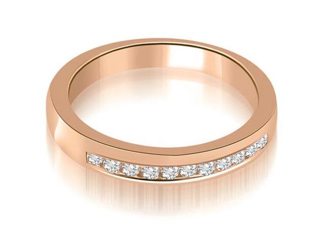 0.25 cttw. Classic Channel Round Cut Diamond Wedding Band in 18K Rose Gold