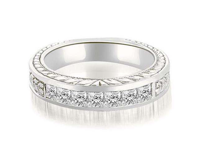 0.70 cttw. Princess Diamond Vintage Wedding Band in Platinum