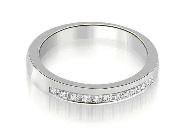 0.25 cttw. Classic Channel Round Cut Diamond Wedding Band in 18K White Gold