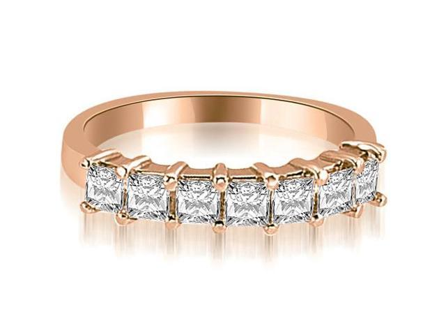 0.70 cttw. Princess Diamond 7-Stone Prong Wedding Band in 18K Rose Gold