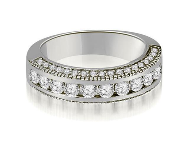 1.20 cttw. Round Diamond Antique Wedding Band in 14K White Gold
