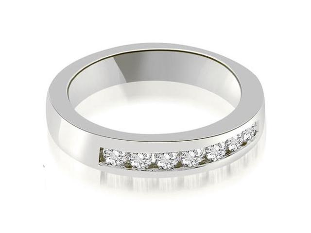 0.35 cttw. Classic Channel Round Cut Diamond Wedding Band in 18K White Gold