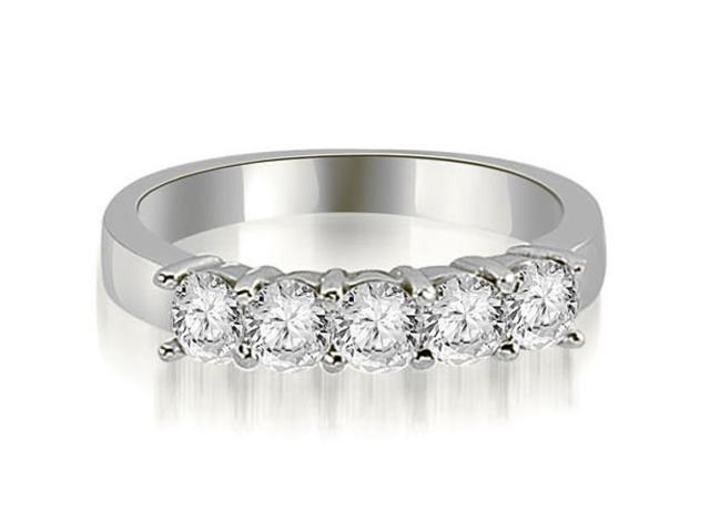 1.50 cttw. Round Diamond Classic 5-Stone Prong Wedding Band in 14K White Gold