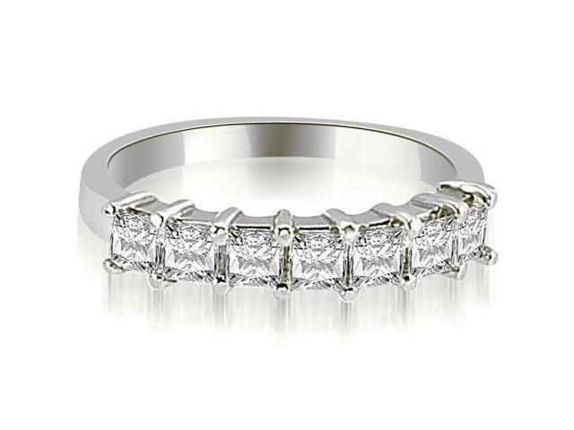 0.70 cttw. Princess Diamond 7-Stone Prong Wedding Band in 18K White Gold