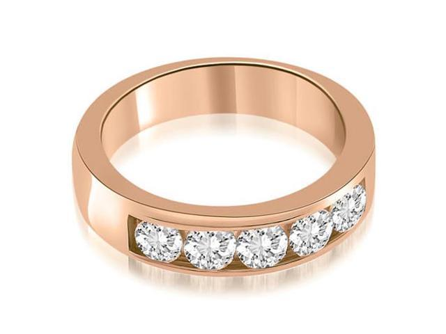 0.75 cttw. Classic Channel Round Cut Diamond Wedding Band in 18K Rose Gold