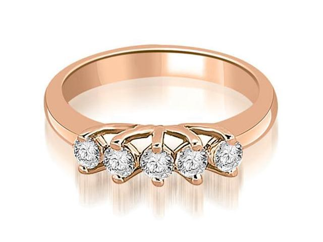 0.50 cttw. Round Diamond Two Prong Wedding Band in 18K Rose Gold