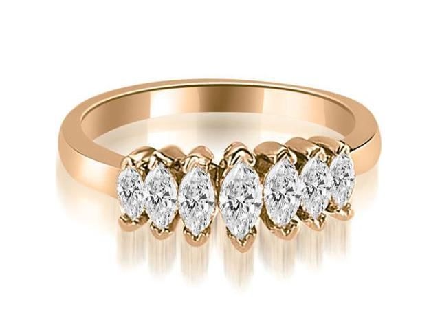 1.01 cttw. Marquise Diamond 7-Stone Wedding Band in 14K Rose Gold