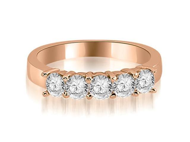 1.50 cttw. Round Diamond Classic 5-Stone Prong Wedding Band in 18K Rose Gold