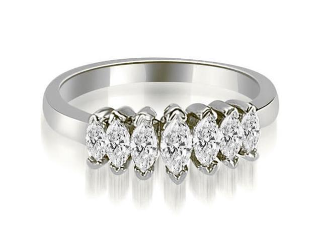 1.01 cttw. Marquise Diamond 7-Stone Wedding Band in 14K White Gold