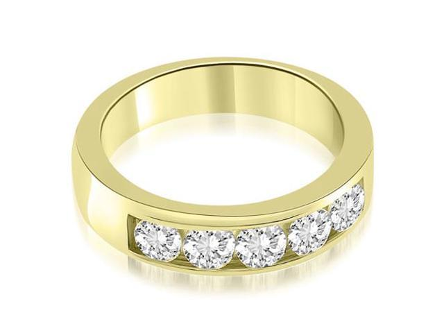 0.75 cttw. Classic Channel Round Cut Diamond Wedding Band in 18K Yellow Gold