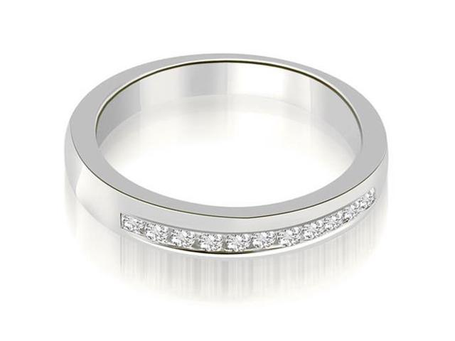 0.25 cttw. Classic Channel Round Cut Diamond Wedding Band in Platinum