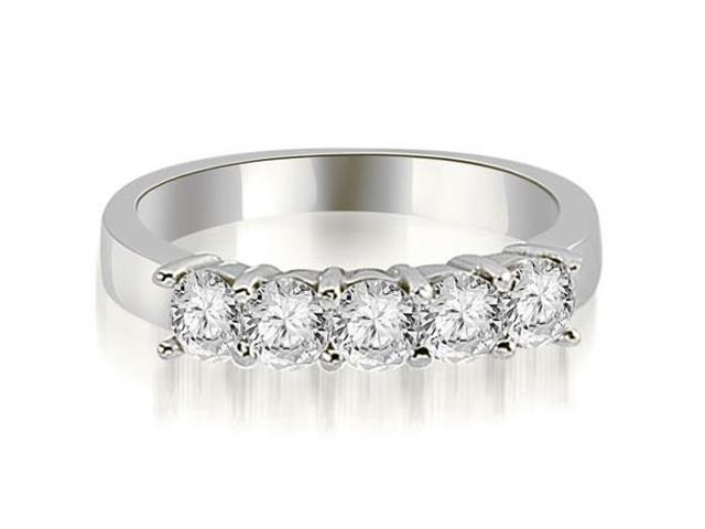 1.50 cttw. Round Diamond Classic 5-Stone Prong Wedding Band in 18K White Gold