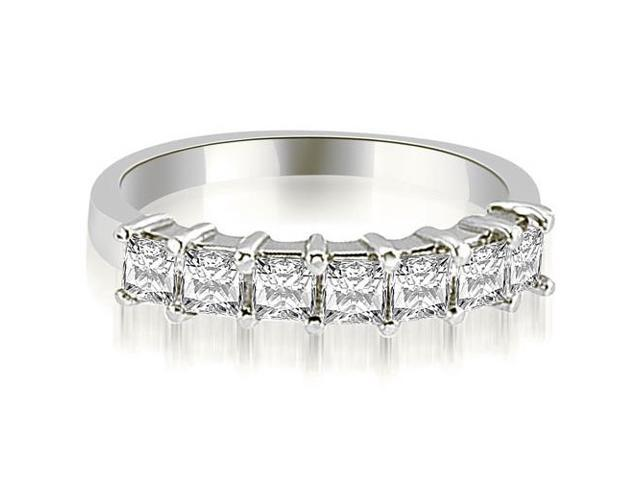0.70 cttw. Princess Diamond 7-Stone Prong Wedding Band in Platinum